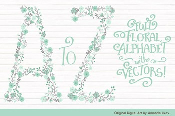 Floral Alphabet Clipart & Vectors in Mint - Flower Clipart