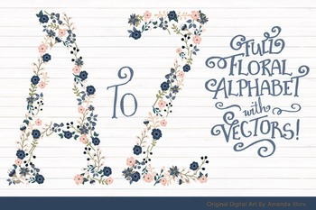 Floral Alphabet Clipart & Vectors in Navy and Blush Colors