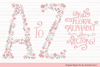 Floral Alphabet Clipart & Vectors in Pink and Grey - Flowe