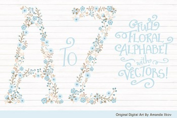Floral Alphabet Clipart & Vectors in Soft Blue - Flower Cl