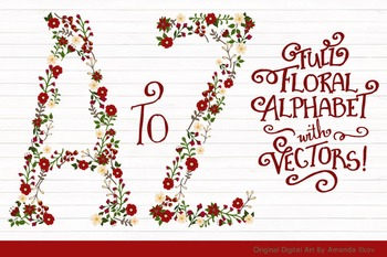 Floral Alphabet Clipart & Vectors in Traditional Christmas