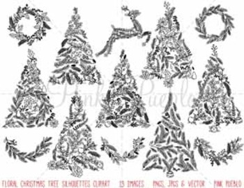 Floral Christmas Tree Silhouettes Clipart Clip Art, Christ