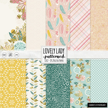 Floral Digital Paper - Lovely Lady