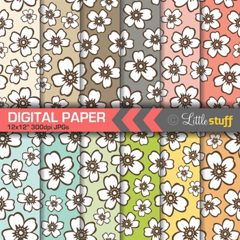Floral Digital Papers, Hawaiian Prints Digital Backgrounds