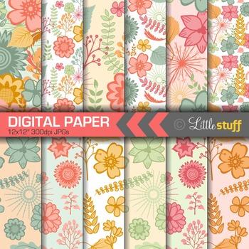 Floral Digital Papers, Retro Floral Digital Backgrounds