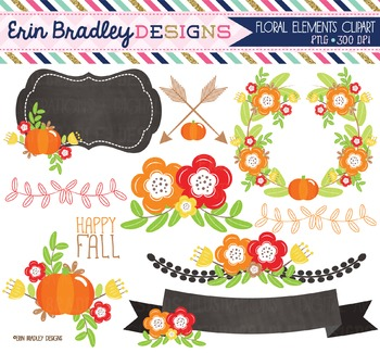 Floral Elements Fall Clipart