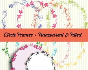 Floral Frames 7″ Diam. – Color and Black – Filled and Tran