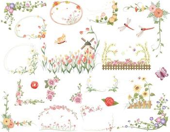 Floral Frames Clip Art Flower Frames Borders Digital Flora