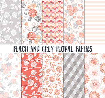 Floral Pattern Paper, Peach and Grey Paper, Spring backgro