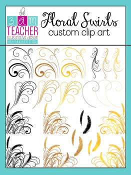 Floral Swirls: Digital Clip Art / Graphics Set