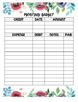 Floral Watercolor Monthly Budget