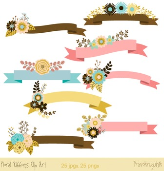 Floral banners clip art, Flower banners clipart, Digital f