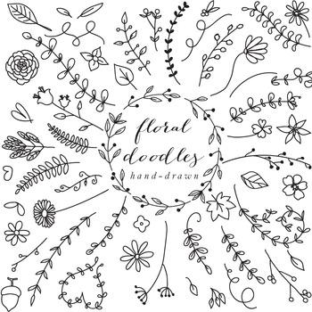 Floral elements clip art hand drawn clipart line art black