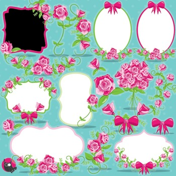 Floral frames clipart commercial use, vector graphics, dig