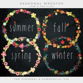 Floral wreaths clipart - flower wreath clip art summer spr