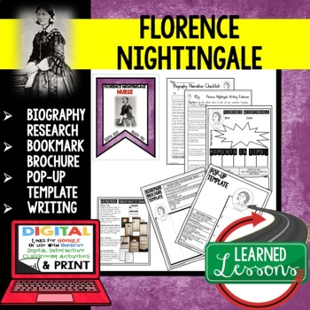 Florence Nightingale Biography Research, Bookmark, Pop-Up,