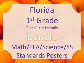 Florida 1st First Grade Math ELA Science AND SS  Standards