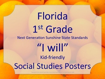Florida 1st First Grade SS Social Studies NGSSS I WILL Sta