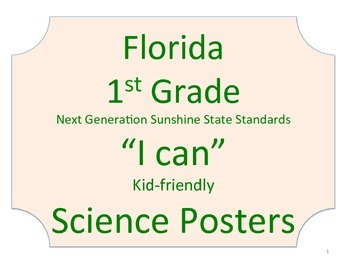 Florida 1st First Grade Science Standards NGSSS No Border
