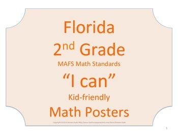 Florida 2nd Second Grade MAFS Math Standards Posters No Border