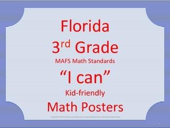 Florida 3rd Third Grade MAFS Math Standards Posters Blue