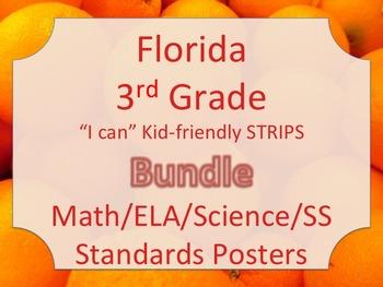 Florida 3rd Third Grade Math ELA Science AND SS  Standards