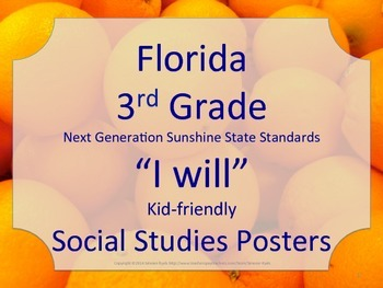 Florida 3rd Third Grade SS Social Studies I WILL NGSSS Sta