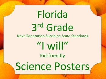 Florida 3rd Third Grade Science Standards NGSSS I WILL Ora