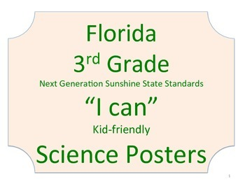 Florida 3rd Third Grade Science Standards NGSSS No Border