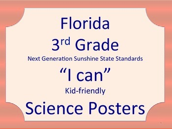 Florida 3rd Third Grade Science Standards NGSSS Red Border