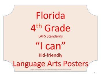 Florida 4th Fourth Grade LAFS ELA Language Arts Standards