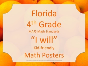 Florida 4th Fourth Grade MAFS I WILL  Math Standards Posters
