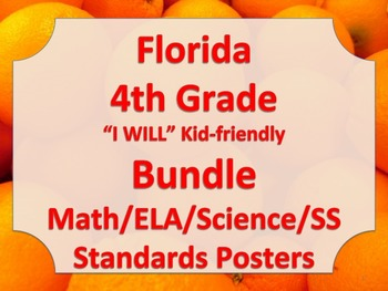 Florida 4th Fourth Grade Math ELA Science AND SS  Standard