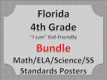 Florida 4th Fourth Grade Math ELA Science AND SS  Posters