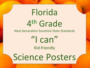 Florida 4th Fourth Grade Science Standards NGSSS Orange Border