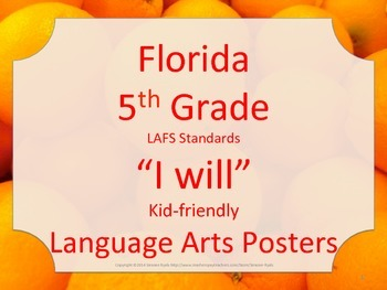 Florida 5th Fifth Grade LAFS ELA Language Arts I WILL Standards