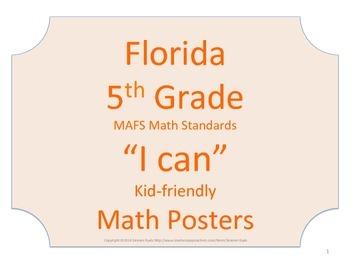 Florida 5th Fifth Grade MAFS Math Standards Posters No Border