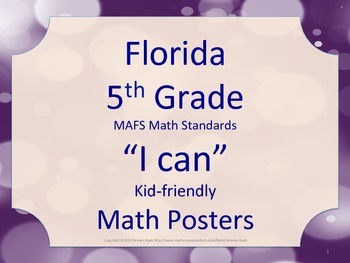 Florida 5th Fifth Grade MAFS Math Standards Posters Purple