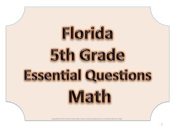 Florida 5th Fifth Grade Math ESSENTIAL QUESTIONS No Border