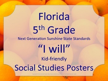 Florida 5th Fifth Grade SS Social Studies NGSSS I WILL Sta