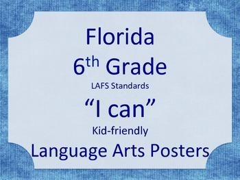 Florida 6th Sixth Grade LAFS ELA Standards Posters