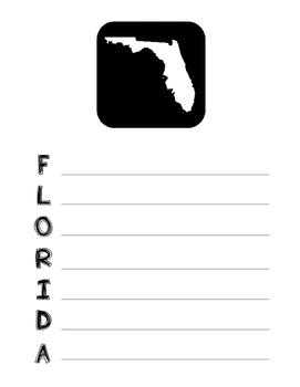 Florida State Acrostic Poem Template, Project, Activity, W