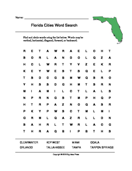 Florida Cities Word Search (Grades 3-5)