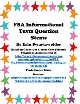 Florida Core Standards Assessment Stem Questions