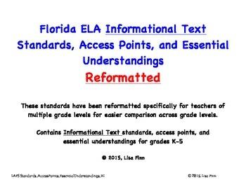 Florida ELA Informational Text Standards, Access Points, a