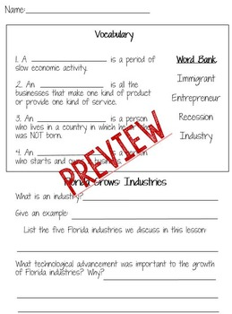 Florida Grows Social Studies Activity Packet