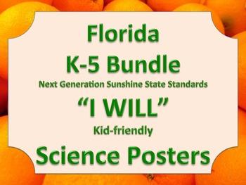 Florida K-5 I WILL Bundle Science Standards NGSSS Orange Border