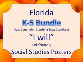 Florida K-5th Grade Bundle SS Social Studies NGSSS I WILL