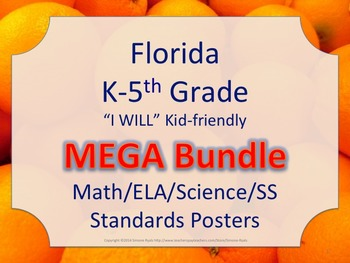 Florida K-5th I WILL Math ELA Science AND SS  Standards Po
