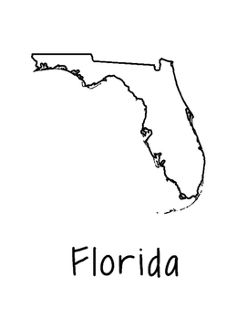 Florida Map Coloring Page Activity - Lots of Room for Note